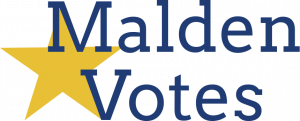 """Text reads """"Malden Votes"""" in blue letters with a gold star connecting the M and the V."""